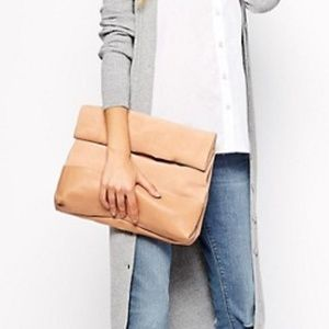 ASOS Leather Suede Roll Top Clutch Bag